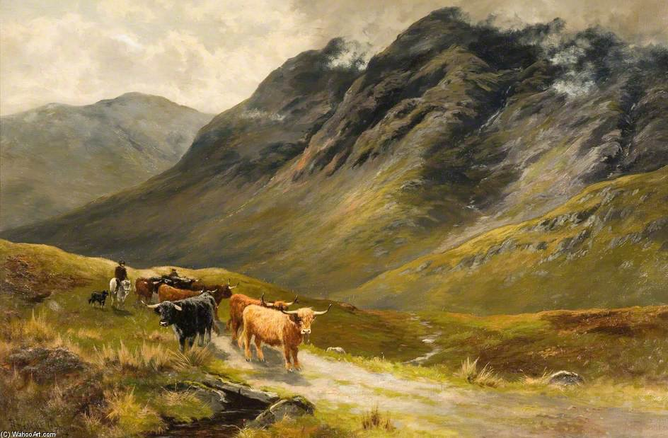 Highland Cattle by Henry Hadfield Cubley (1858-1934, United Kingdom) | Art Reproduction | WahooArt.com