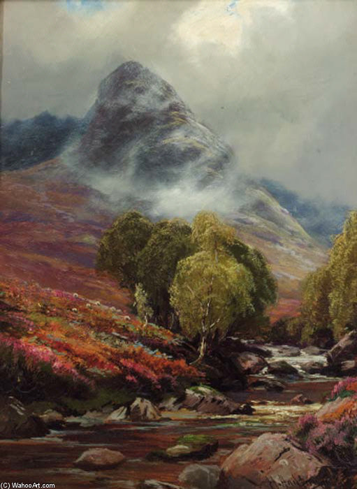 In Glen Sannox, Scotland by Henry Hadfield Cubley (1858-1934, United Kingdom) | Oil Painting | WahooArt.com