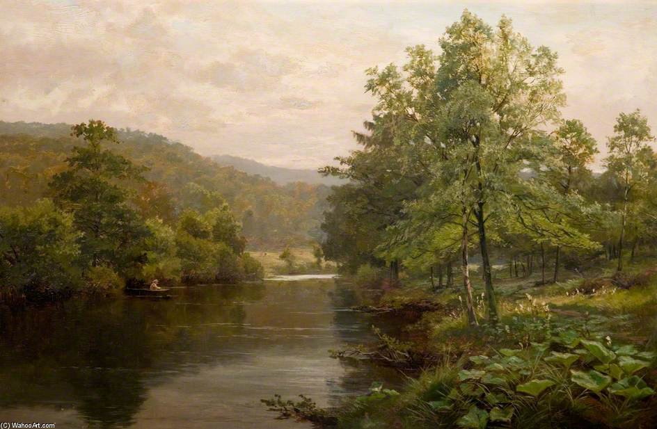 On The Derwent, Derbyshire by Henry Hadfield Cubley (1858-1934, United Kingdom) | Famous Paintings Reproductions | WahooArt.com