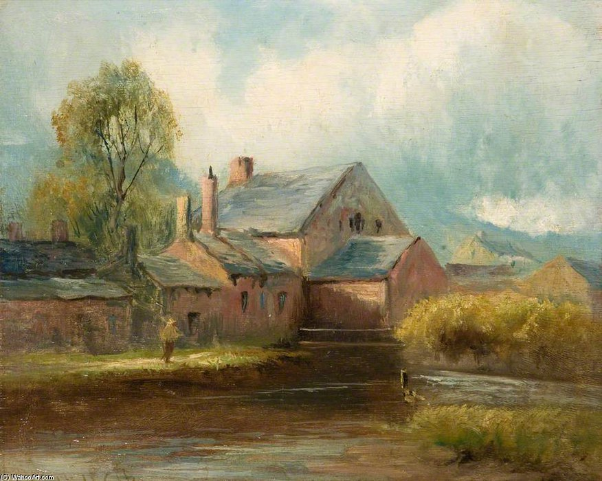 The Old Mill by Henry Hadfield Cubley (1858-1934, United Kingdom)