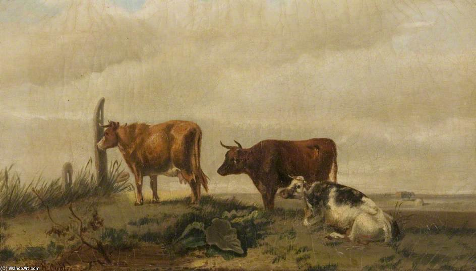 Three Cattle On Open Land by Henry Hadfield Cubley (1858-1934, United Kingdom)