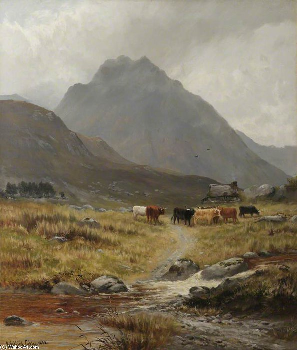 Trefan - Highland Cattle In A Glen by Henry Hadfield Cubley (1858-1934, United Kingdom) | Painting Copy | WahooArt.com