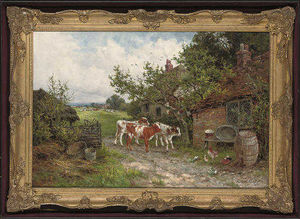 Henry Hillier Parker - A Farmyard Discussion