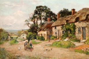 Henry John Yeend King - Figures By A Country Cottage