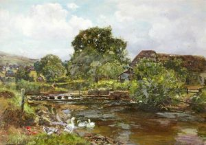 Henry John Yeend King - River Teign With Stepping Stones And Ducks