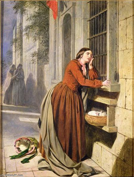 Mother Depositing Her Child In The Foundling Hospital In Paris by Henry Nelson O'neil (1817-1880, Russia)