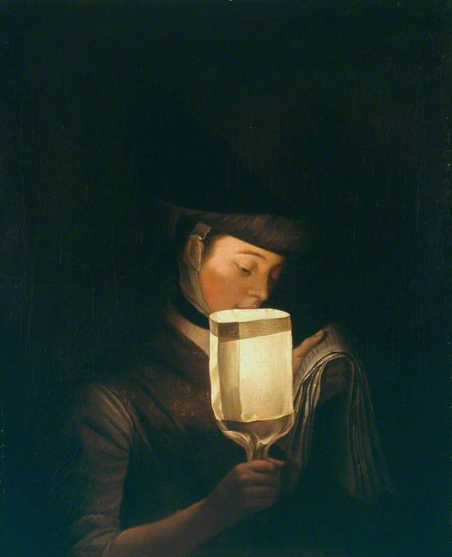 A Girl Singing Ballads By A Paper Lanthorn by Henry Robert Morland (1716-1797, United Kingdom)