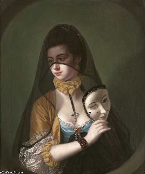 A Lady In A Masquerade Habit by Henry Robert Morland (1716-1797, United Kingdom) | Painting Copy | WahooArt.com