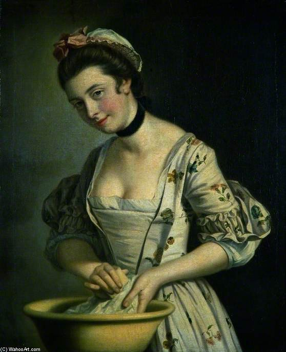 A Lady's Maid Soaping Linen - by Henry Robert Morland (1716-1797, United Kingdom)