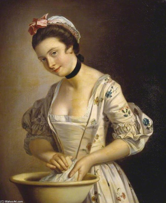 A Lady's Maid Soaping Linen by Henry Robert Morland (1716-1797, United Kingdom)