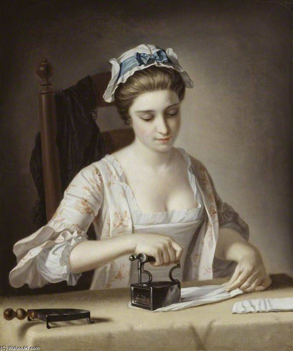 A Laundry Maid Ironing by Henry Robert Morland (1716-1797, United Kingdom)
