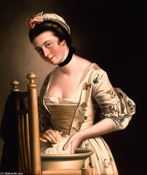 A Woman Doing Laundry by Henry Robert Morland (1716-1797, United Kingdom)