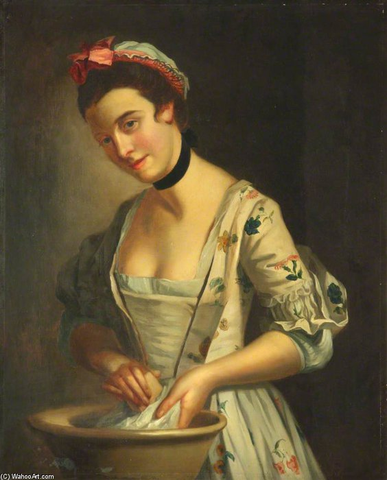 Lady`s Maid Soaping Linen - by Henry Robert Morland (1716-1797, United Kingdom) | Oil Painting | WahooArt.com