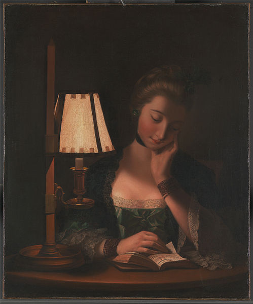 Woman Reading By A Paper-bell Shade by Henry Robert Morland (1716-1797, United Kingdom) | Famous Paintings Reproductions | WahooArt.com