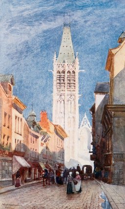 Rue De L` Horlage, Rouen by Herbert Menzies Marshall (1841-1913, United Kingdom) | Museum Quality Reproductions | WahooArt.com