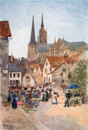 Rue De La Porte Guillaume, Chartres by Herbert Menzies Marshall (1841-1913, United Kingdom)