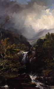 Horatio Mcculloch - Highland Landscape With A Waterfall