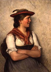Order Museum Quality Copies | A Peasant Girl by Hugo Wilhelm Kauffmann (1844-1915, Germany) | WahooArt.com