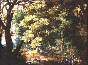Isaac Van Oosten - A Wooded Landscape With Hunters And Hounds (oil On Copper)