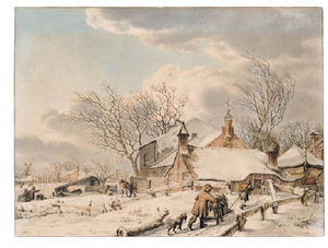 Jacob Cats - A Winter Landscape With Men And A Sledge Near A Farm, People On The Ice Beyond