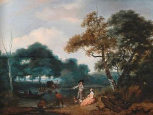 Jacob Esselens - Wooded Landscape With Figures
