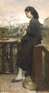 Jacob Henricus Maris - Girl Knitting On The Balcony -
