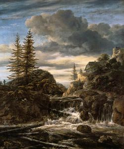 Jacob Isaakszoon Van Ruisdael (Ruysdael) - A Norwegian Landscape With A Cascade Waterfall