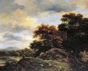 Jacob Isaakszoon Van Ruisdael (Ruysdael) - Landscape With Wooded Hillock