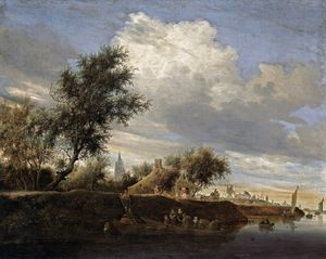 Jacob Salomonsz Ruysdael - Ferry Near Gorinchem