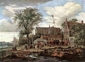 Jacob Salomonsz Ruysdael - Tavern With May Tree