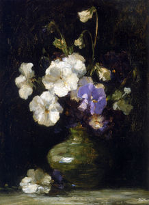 Jacob Simon Hendrik Kever - Pansies In A Vase Sun