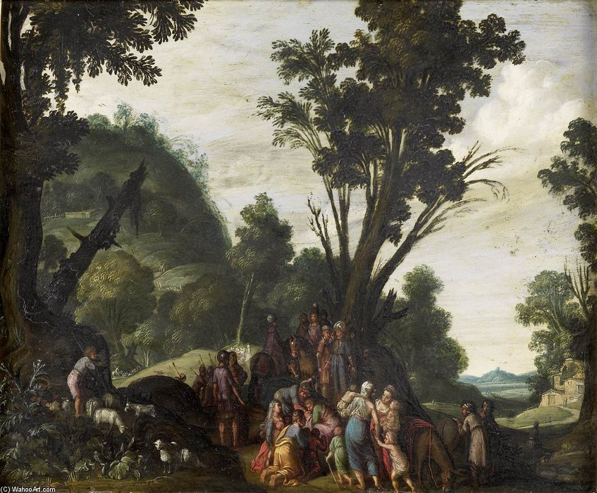 Order Reproductions | Meeting Of Jacob And Esau by Jacob Symonsz Pynas (1583-1631, Netherlands) | WahooArt.com