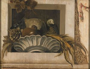 Jacob Van Campen - Still Life Of Vegetables And A Parrot In A Niche