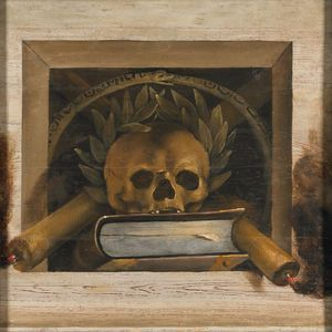 Jacob Van Campen - Itas Still Life With A Book And A Skull