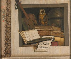 Jacob Van Campen - Itas Still Life With Books, A Violin And An Owl In A Niche