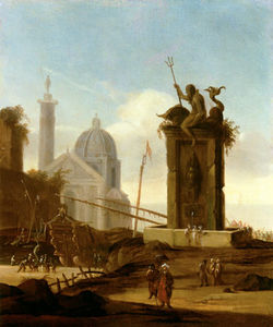 Order Museum Quality Copies | An Italianate Capriccio In A Mediterranean Harbour by Jacob Van Der Ulft (1627-1689, Netherlands) | WahooArt.com