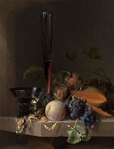 Jacob Van Walscapelle - A Still Life Of Fruit And Nuts And Two Glasses On A Stone Ledge Before A Niche