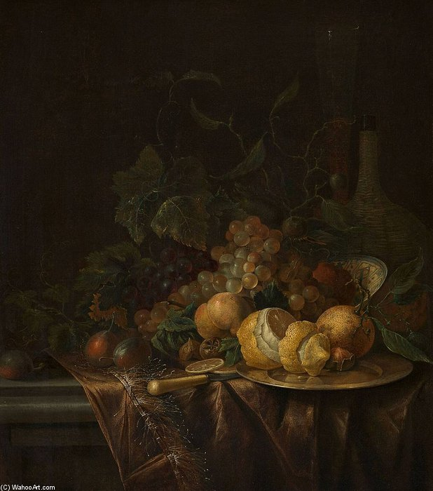 Order Paintings Reproductions | Still Life With Fruit, Flute And Wicker-bottle by Jacob Van Walscapelle (1644-1727, Netherlands) | WahooArt.com