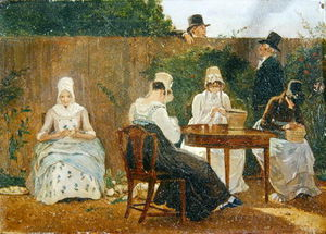 Jacques Laurent Agasse - The Chalon Family In Their London Town Garden