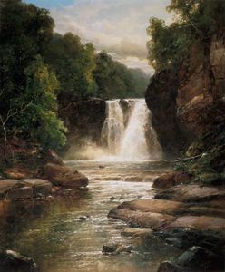 James Burrell Smith - A Wooded River Landscape With Waterfall