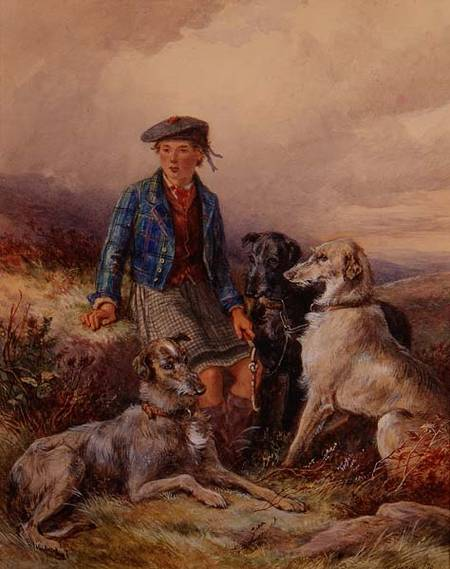 Scottish Boy With Wolfhounds In A Highland by James Hardy Junior (1832-1889)