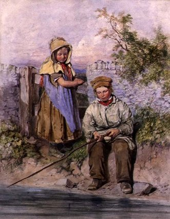 The Young Anglers by James Hardy Junior (1832-1889) | Famous Paintings Reproductions | WahooArt.com