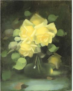 James Stuart Park - Yellow Roses In A Flask Bottle