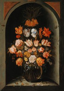 Jan Baptist Van Fornenburgh - Still Life Of Flowers In A Niche With Insects, Reptiles And Flower Petals