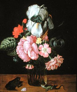 Jan Baptist Van Fornenburgh - Still Life With Flowers, A Frog And A Lizard
