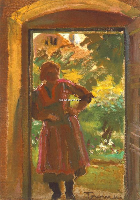 Woman Standing In A Door by Janos Tornyai (1869-1936, Hungary) | WahooArt.com