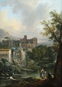 Jean Baptiste Lallemand - Summery River Landscape With Gallant Staffage Figures And A Monastery On A Hill