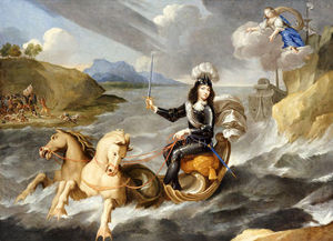 Jean Nocret - An Allegory Of King Louis Xiv In Armour Hailed As King Of The Sea By The Personification Of France