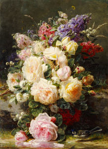 Jean Baptiste Robie - Still Life With Roses