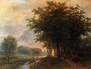 Johann Bernard Klombeck - Wooded River Valley With Peasants On A Path